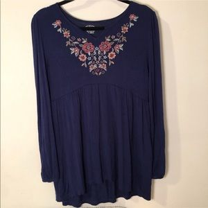 Embroidered Navy Floral Tunic Sz XL